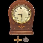 Antique Seth Thomas Sonora Chime Clock 5 Bells Doric Cabimet Model  No 61 Circa 1912-1914 Runs Strikes and Chimes Inlaid Wood Case