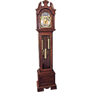 Vintage Herschede Grandfather Clock Running Westminster Chimes Burled Walnut Veneer