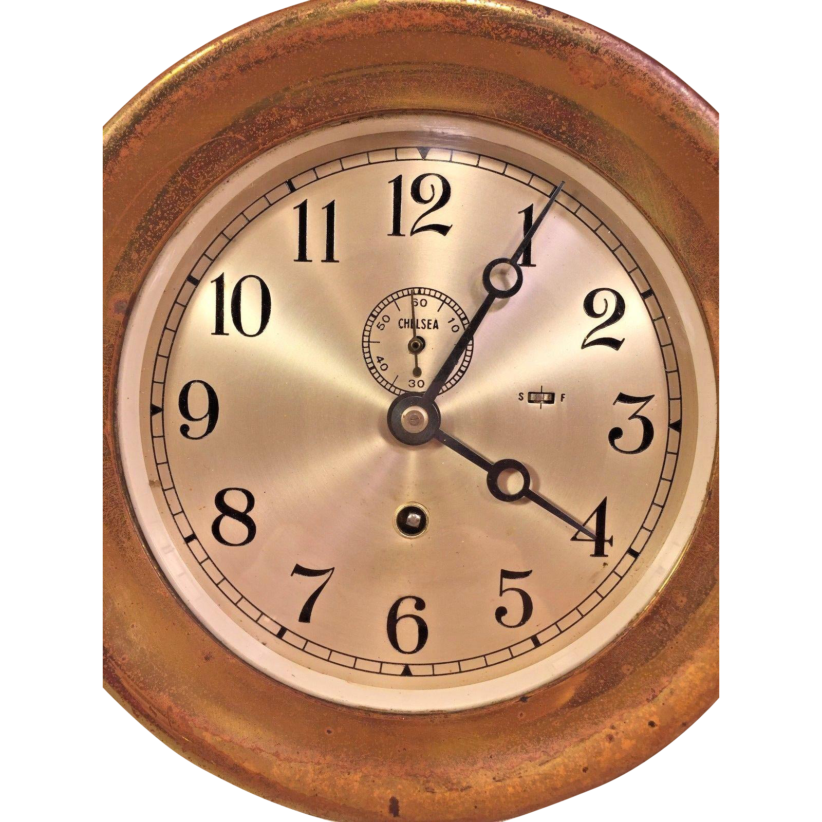Vintage chelsea ships clock time only runs 1947 1948 725 brass vintage chelsea ships clock time only runs 1947 1948 725 brass case amipublicfo Image collections