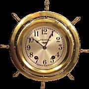 Vintage Seth Thomas Ship's Bell Clock Ship Wheel Case Runs Strikes Brass Case
