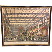 Antique 1851 Great Industrial Exhibition Lithograph Plate 2 The Foreign Nave of Crystal Palace in Frame After Drawing by Joseph Nash Queen Victoria and Prince Albert in Attendance