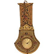 Antique Gilt Metal and Needlework Hanging Clock Running Swiss Made In Austria