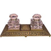 Vintage Inkwell Set with Decorated Brass Base Glass Ink Pots with Hinged Tops