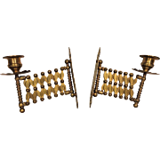 Antique French Brass Wall Mount Candle Holders by Adolphe Pequet Late 19 C Expandle Wall Mounts