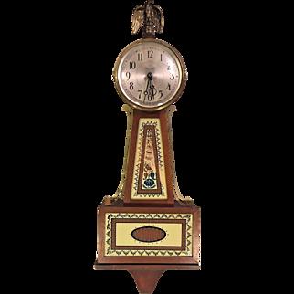 Seth Thomas Banjo Clock Quartz Running w/ Eagle Finial Brass Lacquer Center Rails Nice Tablets