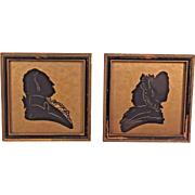 Antique Silhouettes of Martha & George Washington in Old Frames I