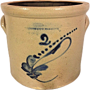Antique 2 Gallon Blue Decorated Stoneware Crock Connolly and Palmer, New Brunswick NJ