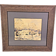 Vintage John Cuthbert Hare Watercolor Painting Vermont Winter Framed American Artist