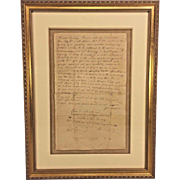 Antique 1827 Handwritten Love Letter from Joel Supplee to Phoebe Wetherill of Bucks Co PA Framed w/ Additional Information on Back