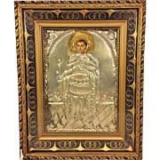 Vintage Greek Religious Icon Embossed and Engrave on Metal Head Printed on Panel in Ornate Wood Frame