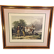 "Antique Hand Colored Engraving ""A Scene at Wiseton"" engraved by W H Simmons after painting by Richard Ansdell Framed and Matted"