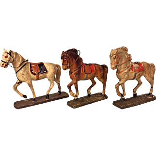 2 Pieces of Elastolin Lineol Composition Horses on Bases Germany