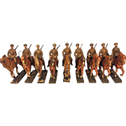 18 Pieces of Lineol Composition Horses with Riders on Bases US WWI Figures Germany