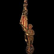 Vintage Elastolin Composition WWI US Flag Bearer Draped Flag