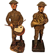 Vintage Pair of Lineol Composition WWI US Band Soldiers Drum & French Horn