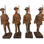 4 Pieces of Lineol Composition Soldiers US WWI Infantry Figures Germany