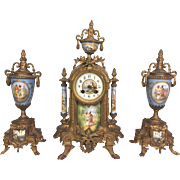Antique Japy Freres Clock and Vase Garniture Set Porcelain and Bronze Gold Gilted Runs & Strikes France
