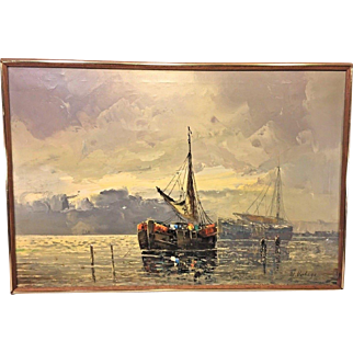 A Verhage Oil Painting of Fishing Vessels on Canvas Framed