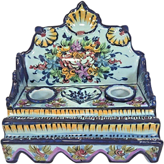 Vintage Faience Inkwell Stand  w/ Earthenware Inkwell Bottles Flower & Shell Design Vestal Alcobaca, Portugal