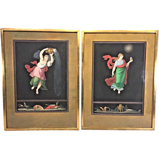 Pair of 19th Century Hand Colored Engravings of Women in Frames