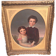 Antique Oil Painting on Canvas of Children in Fabulous Gold Gilt  Plaster/Wood Frame Hartman Marking on Frame