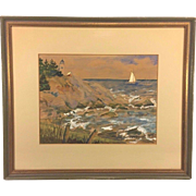 Vtg McDowell Watercolor Painting 1970 Coastal Scene of Light House & Sail Boat
