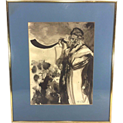 Vintage Watercolor in Frame Middle Eastern Man on a Horn Andrea Lyons Green 1980