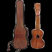 Inlaid Wood Hawaiian Ukulele w/Worn Case H & S Philadelphia PA