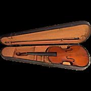 Vtg Henri Farny & Cie Violin France w/ Case & Joseph Strotz Violin Bow