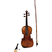 Vtg Francesco Ruggeri Model Violin Cremona 1663 w/ Faux Leather Case and/ Josef Richter Violin Bow