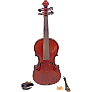 Antique Violin Oak Back Redwood Belly No Maker Label Violin is Quite Heavy Information Etched Inside Violin Body  Dark Red Brown Stain w/ Vtg Case 1 Piece Belly 1 Piece Back