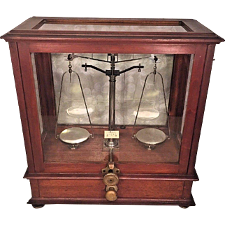 Antique Diminutive Apothecary Scale Wood Case & Glass w/ Saddles and Glass Tray Unique Lock Mechanism for Front Door