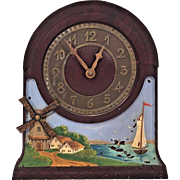 Vtg New Jersey Clock Co Electric Automaton Clock Windmill Blades Turn! Bakelite Case & Metal Face Runs & Operates! Rare and Uncommon Clock Here