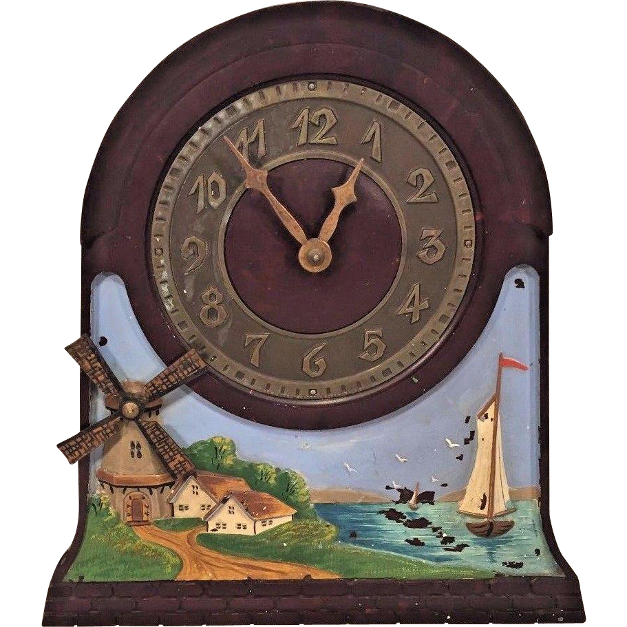 Vtg new jersey clock co electric automaton clock windmill blades vtg new jersey clock co electric automaton clock windmill blades turn bakelite case metal face runs operates rare and uncommon clock here amipublicfo Images