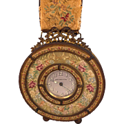 Antique Victorian Wall Clock on Tapestry and Brass Hanger Breveto Switzerland Runs