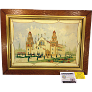 Antique Watercolor Of Alhambra Building Concept for the Buffalo Pan American Exposition Framed J G Drainie & William Hart Boughton Architects 1890s