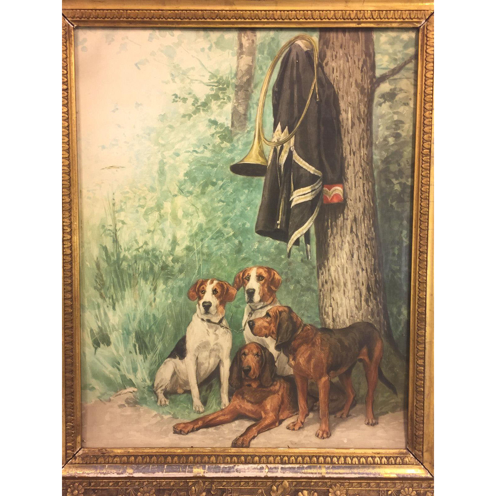 Antique Watercolor Painting Of 4 Hunting Dogs W Horn