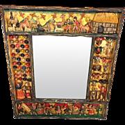 Vintage Peruvian Figural Frame Wall Mirror Vicario Jiminez  Wood Frame Composite Figures