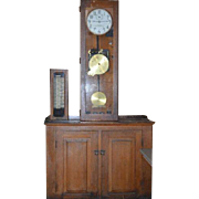 Vintage International Time Recording (ITR) School Master Clock w/ Original Adapter Control Panel Cabinet  and Wood Base Cabinet 1930 Model 6981