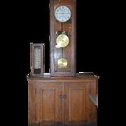 Vintage International Time Recording (ITR) School Master Clock w/ Original Adapter Control Panel Cabinet  and Wood Base Cabinet 1930 Model 6981