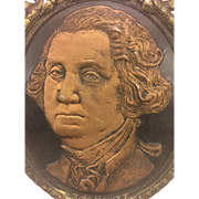 Antique George Washington 209th Birthday Face Memorial Painted Cardboard