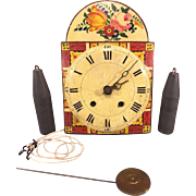 Antique Wag on Wall Clock with Weights & Pendulum Painted Face Wood Case Not Running or Striking