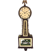 Vintage New Haven Banjo Clock Willard Model 1920s Westminster Chimes Barrel Pendulum Runs Strikes Chimes Brass Center Rails Mahogany Case