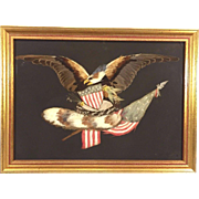 Antique Feather Art Piece Eagle Shield American Flag Framed