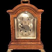 Antique Junghans Bracket Clock Unique Oak Case  Runs Strikes Chimes Westminster Chimes  Brass Feet A13 160 Movement  Item Description