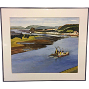 "Joseph Didinger Watercolor ""Dumbarton on the River Clyde"" in Blue Metal Frame Matted"
