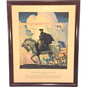 Vintage N C Wyeth Lithograph of George Washington in Frame Issued for His 200th Birthday