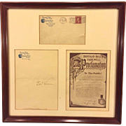 Antique Buffalo Bill Farewell Proclamation Signed by Major G W Lillie Letter Envelope and Proclamation
