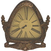 Vintage Waltham Shelf Clock Art Nouveau Case Time Only Runs