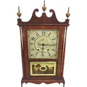 Antique Henry Terry Pillar & Scroll Clock 1830s Runs & Strikes Mahogany Case Solid Wood and Veneer
